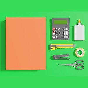 3D stationery office folder model