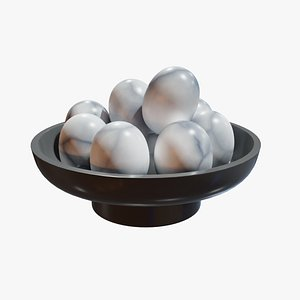 Marble Egg Plate Home Accessory 3D