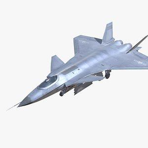J-20 Black Eagle Jet Fighter Aircraft Low-poly 3D model