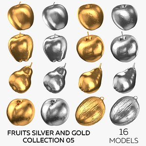 Fruits Silver and Gold Collection 05 - 16 models 3D model