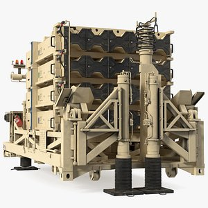 Iron Dome Mobile Air Defense System Rigged 3D model