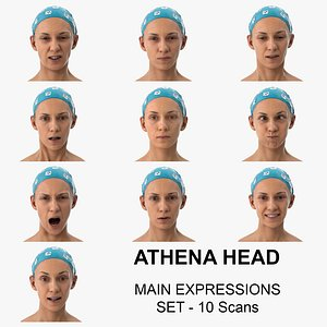 Athena Clean Scans Main Expression Set - 10 poses Collection 3D model