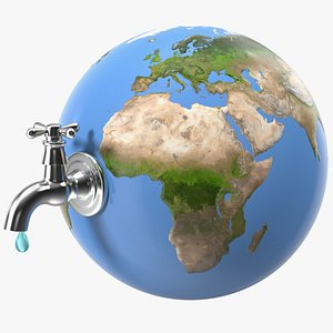 Stylized Earth with Faucet