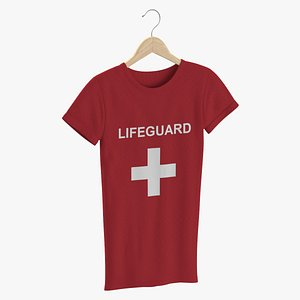 3D model Female Crew Neck Hanging Red Lifeguard 02
