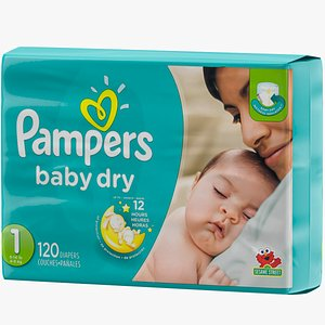 3D diaper package pampers model