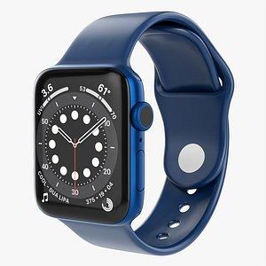 Apple Watch Series 6 silicone loop blue 3D model