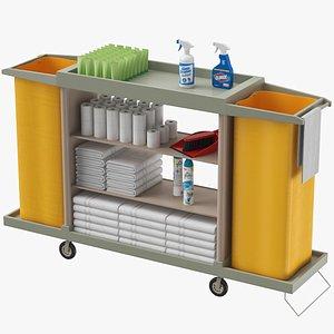 3D Hotel Housekeeping Trolley