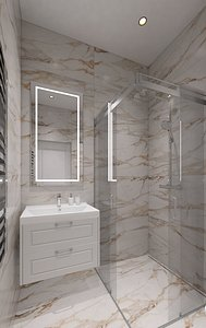Small shower room with marble tiles 3D