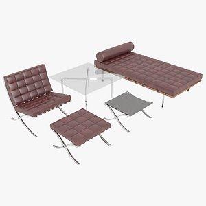 3D Knoll Red Leather Barcelona Complete Set model