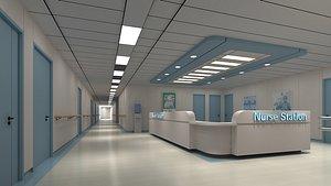 3D hospital hallway 2 model