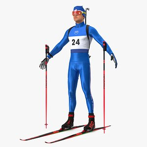 Biathlete Fully Equipped USA Team Neutral Pose 3D model