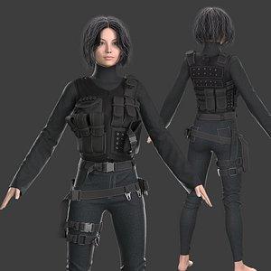 3D model Tactical Female Outfit Marvelous Designer project