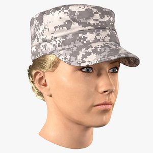 female soldier head fur 3D model