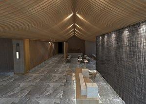3D Lobby rest area front desk atrium column architectural design soft installation tooling model