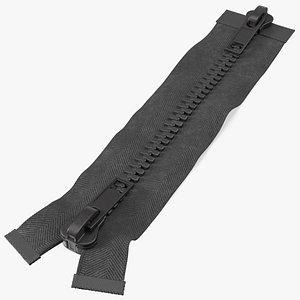 3D Two Way Zipper Closed Black model