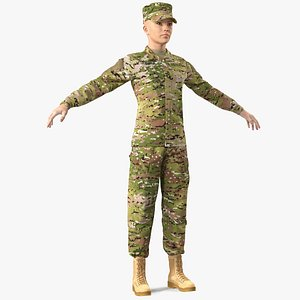 3D model female soldier camouflage rigged woman