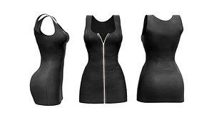 3D Zip Up Sleeveless Mini Dress