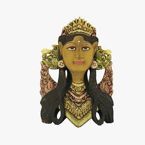 3D Balinese Janger Dancer Mask Wood Sculpture Real-Time 3D Scanned