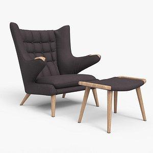 Papa Bear Chair And Ottoman Dark Brown 3D model