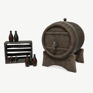 3D barrel bottles asset
