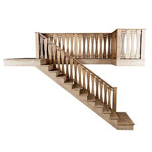 stair wooden 3D model