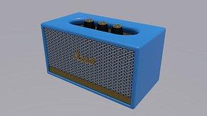 Marshall Acton II Wireless Wi-Fi Smart Speaker White model blue 3D