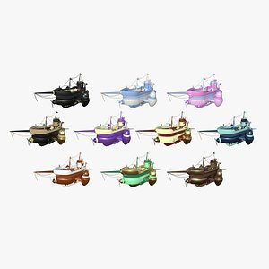 10 Cartoon Airships Collection - Low Poly Ship 3D model