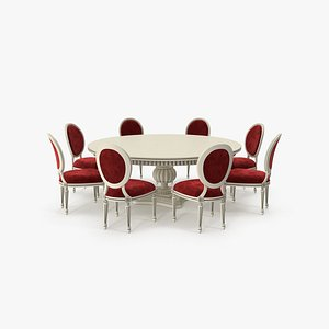 Beige Paint with Red Fabric Velvet Round Dining Table Set for 8 Persons 3D model