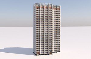 russian apartment panel building 3D