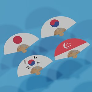 3D Asian Hand Fan Collection