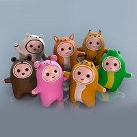Pack low poly cute cartoon kids in animal costumes crocodile, squirrel, deer, bear
