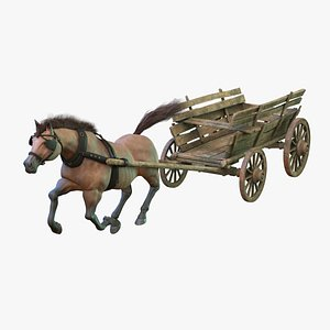 Dray with Horse Rigged 3D