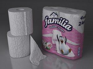 paper 4 rolls 2x2 3D model