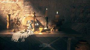 3D C4D Octane render ??????Yu-Gi-Oh! Egypt Blue Eyed White Dragon Pharaoh Burial chamber model