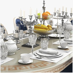 3D Full Dining Table With Tableware Set