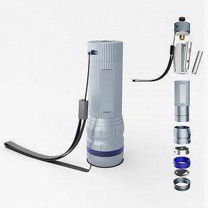 3D Flashlight Silver model