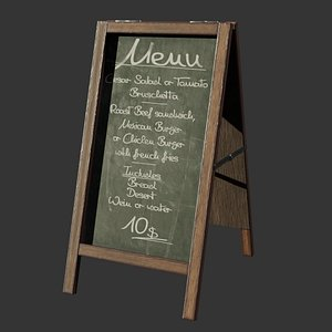 3D Menu board for restaurant and coffee shop model