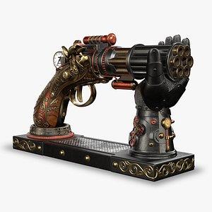 Veronese Steampunk Gun with Hand Holder 3D