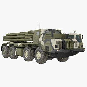 BM-30 Smerch Rocket Launcher Camouflage 3D model