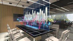 office interior stock charts 3D model