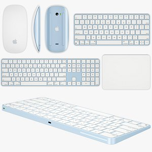 3D Apple Magic Keyboard and Mouse and Trackpad model