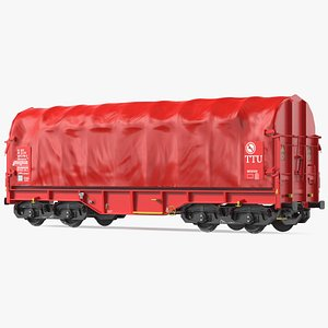 DB Cargo Coil Transporter Tarpaulin Freight Wagon Closed Clean 3D model