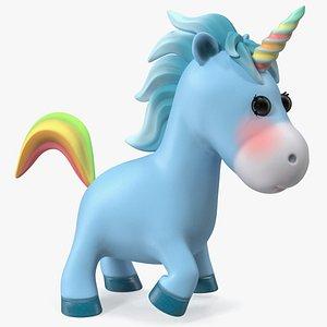 3D Blue Cartoon Unicorn Rigged model