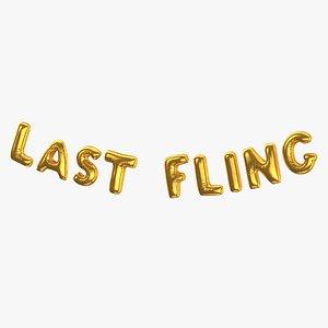3D model Foil Baloon Words LAST FLING Gold