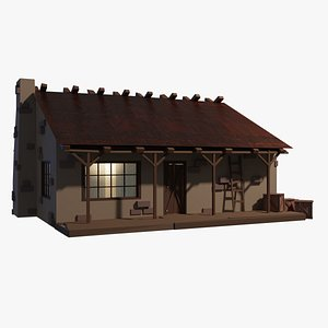 3D Rural Home Low poly
