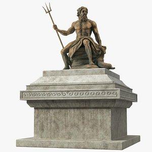 Poseidon Bronze Statue with Pedestal 3D model