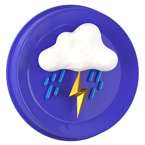 Weather Symbols Lightning With Rain model
