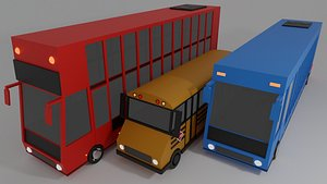 3D Bus Vechiles Pack model