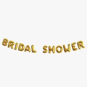 Foil Baloon Words Bridal Shower Gold 3D model