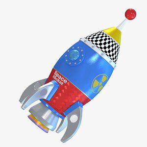 cartoon space rocket 3D model